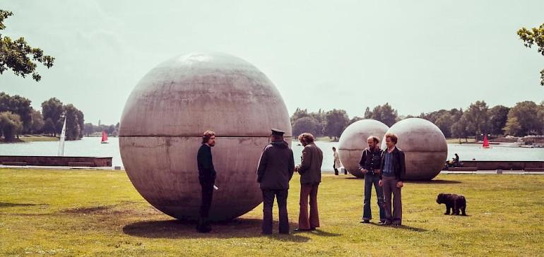 Giant Pool Balls by Claes Oldenburg